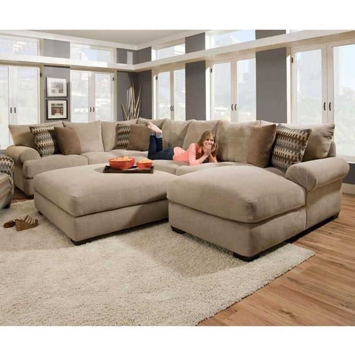 Casual 3 Piece Tan Sectional Comfortable Sectional Sofa