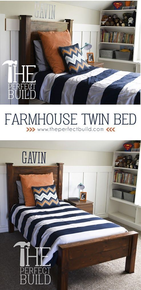 farmhouse twin bed free diy easy to follow instructions
