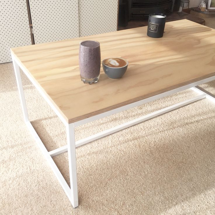 White coffee table mild steel white with plywood top