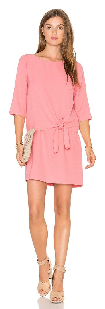 Tenley dress by cupcakes and cashmere. Poly blend. Hand wash cold. Unlined. Draped bodice overlay with tie detail. Back keyhole with but...
