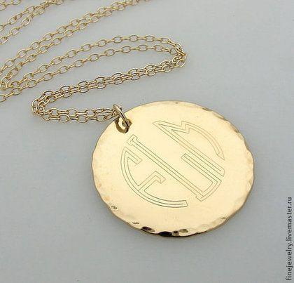 """Золотое ожерелье """"Монограмма"""". Восхитительное украшение с гравировкой -"""