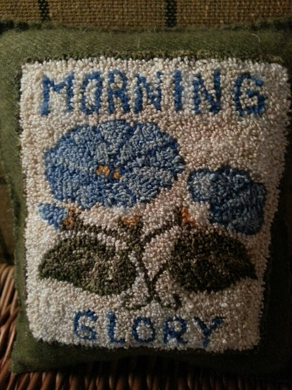 Primitive Punchneedle Morning Glory Seed By