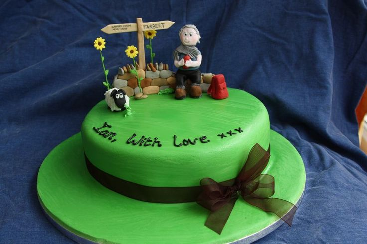 I was asked to make a cake for an 80 year old male who likes walking. I was asked to include a rucksack, sunflowers and certain UK towns.