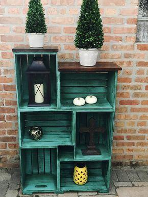 Kleinere rustikale Bauernkiste Bücherregal | Etsy   – decore
