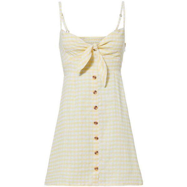 Faithfull Rodeo Mini Dress ($188) ❤ liked on Polyvore featuring dresses, yellow, linen dress, short white dresses, yellow linen dress, short dresses and white day dress
