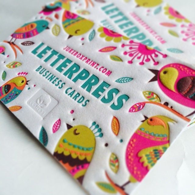 Beautifully Colored Letterpress Business Cards