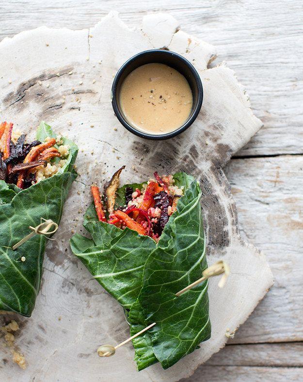 Collard envuelve con verduras asadas, quinua, arroz integral, y Mostaza Miso