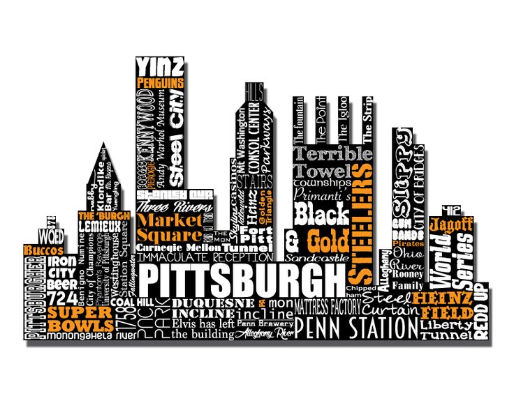 """Original artwork using words to describe """"CITY OF PITTSBURGH"""" -- Show off your Pittsburghese in your home with this print that details the many words for Pittsburgh, PA.  City Silhouette for Pittsburgh sports teams -- Buccos, Pirates, Penguins, & Steelers. Come visit the Lexicon Delight Etsy store!"""
