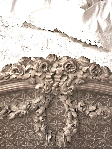 detail on carved French footboard