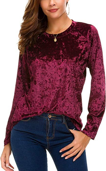 2f23c92914dd2 Urban CoCo Women s Vintage Velvet T-Shirt Casual Long Sleeve Top (XS ...
