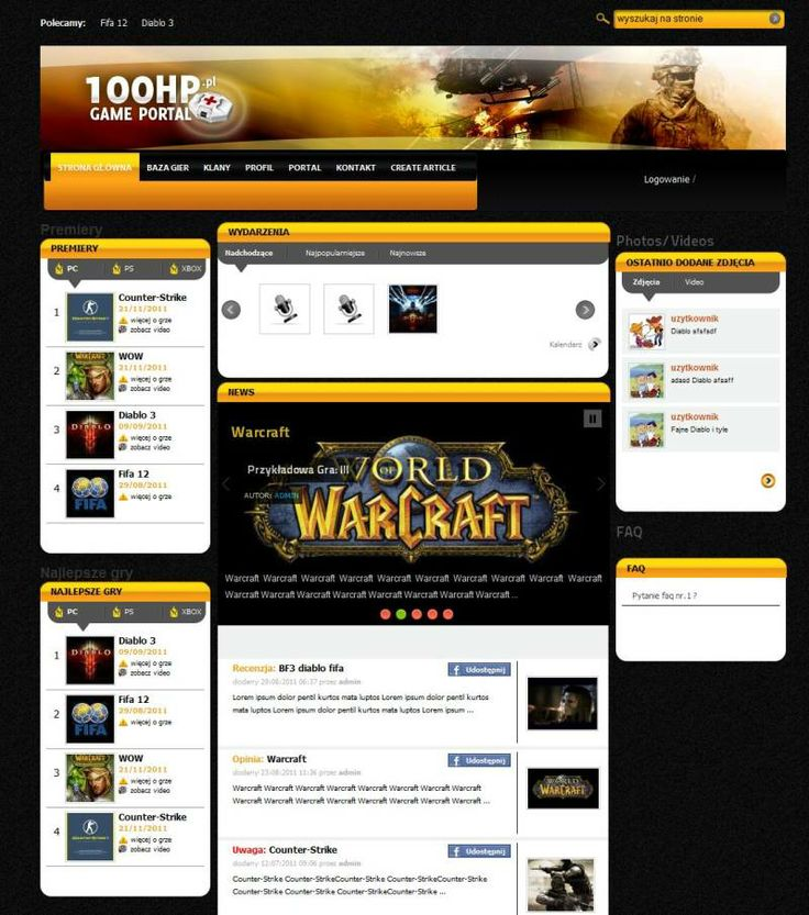 It is time for game portal! Are U a fan of World of WarCraft? Check this out. It is social networking service. We create the whole graphic and of course programming.