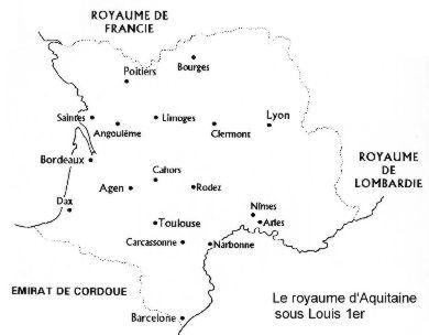 Carte du royaume d'Aquitaine en 806 d'après Beltour (1995)- LOUIS 1°. 7) LA PERIODE DES REVOLTES ET DES GUERRES CIVILES (830-835), 7.2 CONFISCATION DE L'AQUITAINE (832): Malgré cela, PEPIN et LOUIS continuent à s'agiter. PEPIN, au service de qui BERNARD DE SEPTIMANIE s'est placé, s'étant rebellé, l'empereur procède à la confiscation de leurs domaines.
