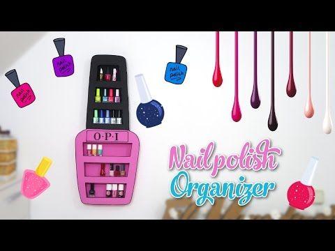 nail polish organizer DIY - nail polish rack with cardboard box - decor crafts - YouTube