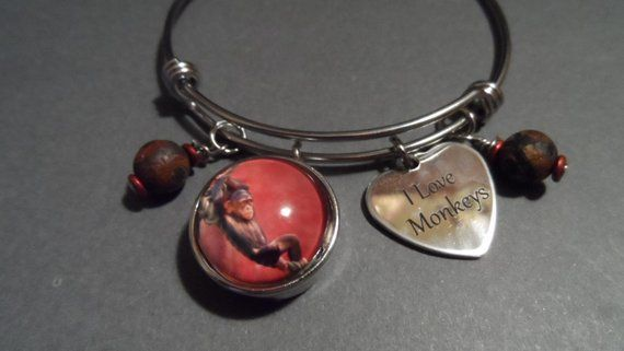 Monkey Bangle Bracelet,Free Shipping,Photo of Monkey Snap,Stainless I Love Monkeys Charms,Brown Agate Beads.Great Gift For Monkey Lovers.
