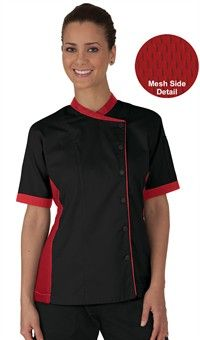 Women's Mesh Side Panel Chef Coat - Snap Front Closure - 65/35 Poly/Cotton Fine Line Twill