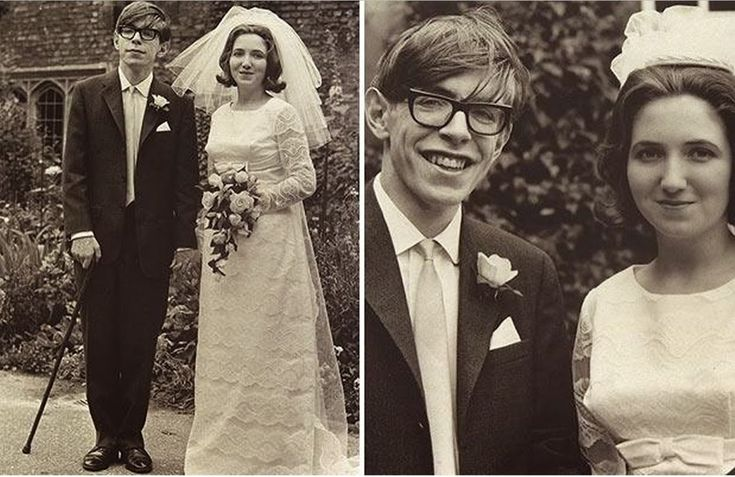 Stephen Hawking with his first wife, Jane Wilde, on their wedding day (14 July 1965)