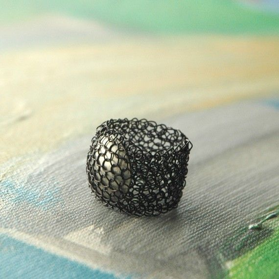 Crochet wire ring | http://www.yooladesign.com/product-category/wire-crochet-patterns-and-supply/wire-crochet-patterns/