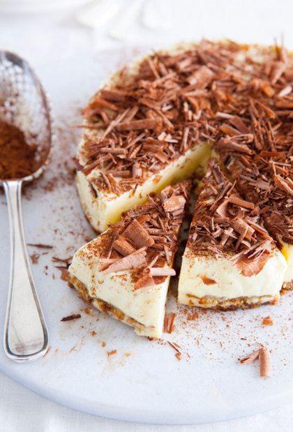 Recept voor tiramisutaart met chocolade krullen