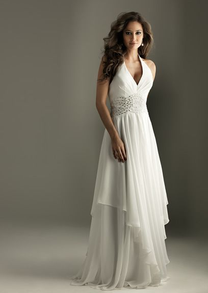 Beads Working V-Neck White Chiffon Floor Length Faddish Evening Dress