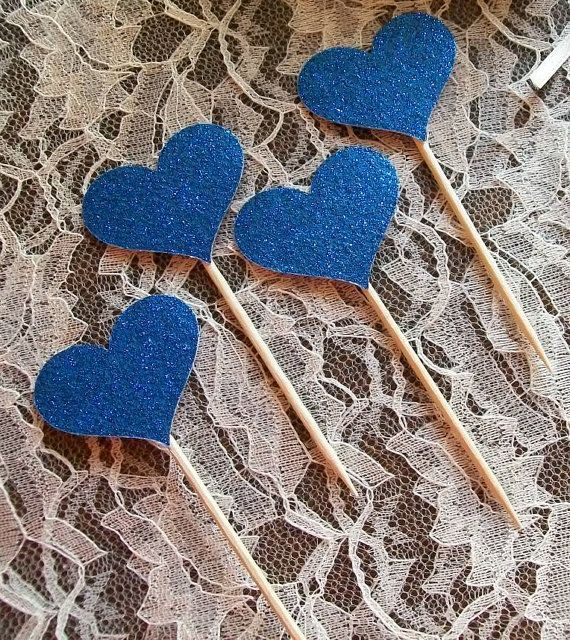 120 Sparkling ROYAL BLUE HEARTS Cupcake Toppers by DottiesWeddings, $16.50