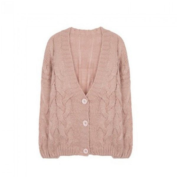 Chunky Cable Knit Cardigan (2,790 INR) ❤ liked on Polyvore featuring tops, cardigans, loose long sleeve tops, loose fit tops, button up cardigan, bunny top and button down top