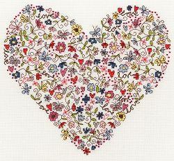 Love Heart Cross Stitch Kit XKA1