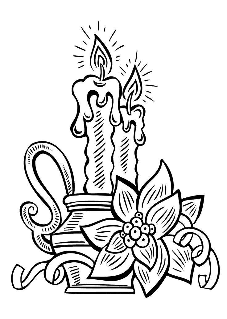 Christmas candle coloring pages for kids, printable free