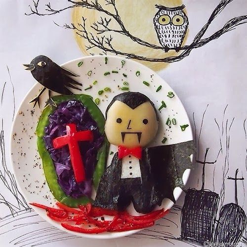 Dracula Halloween Inspired Food Art by Samantha Lee