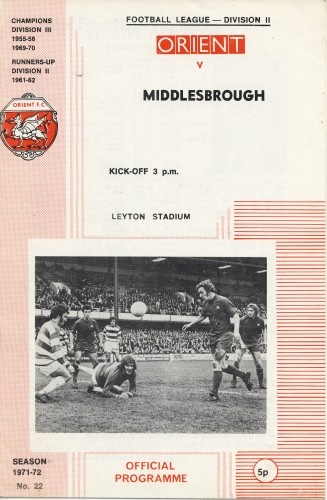 Leyton Orient vs Middlesbrough 1972