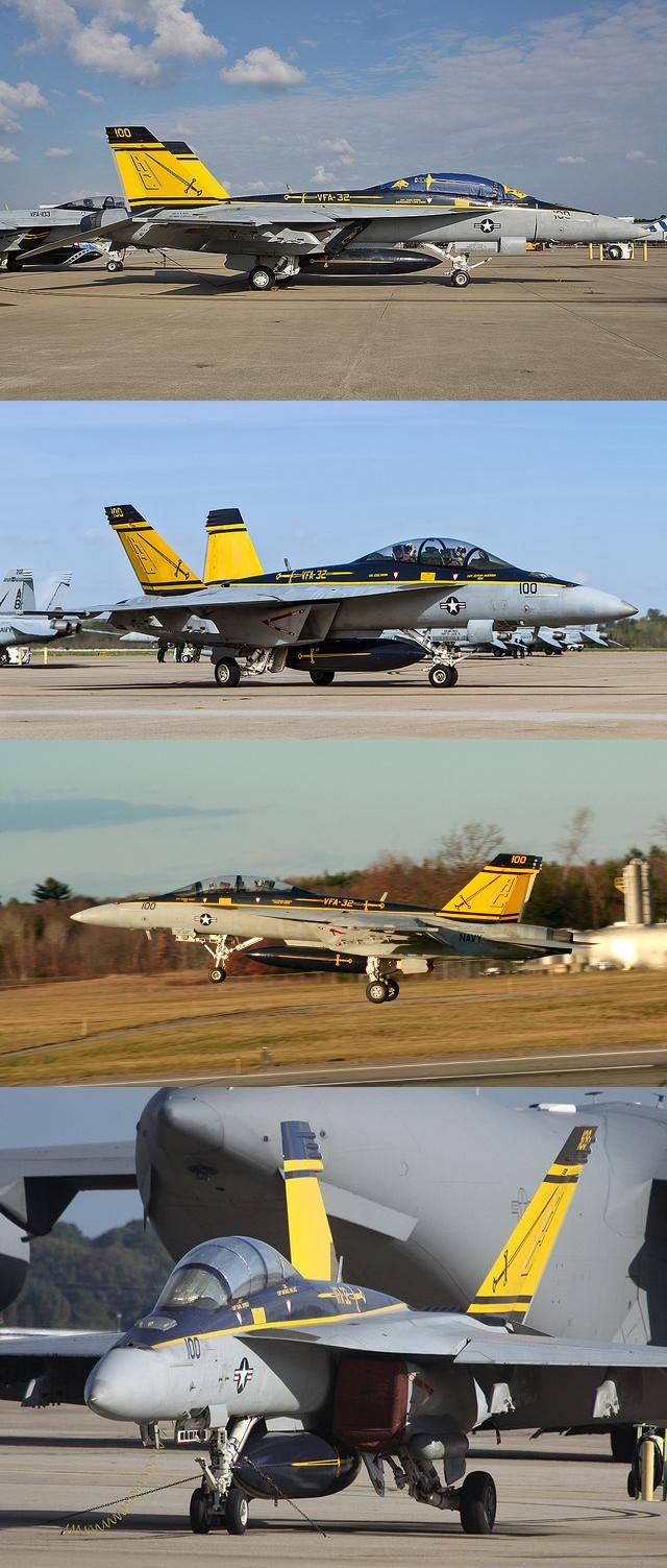"Boeing F/A-18F Super Hornet of VFA-32 ""Fighting Swordsmen"" (it's the same airframe in different angles/locations)"