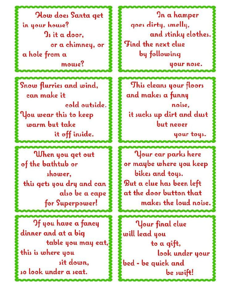 Treasure Hunt Clue Cards- Page 2 | elfoutfitters.com #elfoutfitters free printable christmas day treasure hunt: