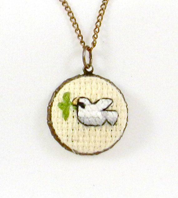 Handmade Cross Stitch Charm Necklace Dove Charm Bird by PipandAnya, $17.00