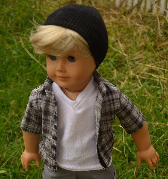 Black beanie hats for American girl dolls by JulesNmeDollDesigns