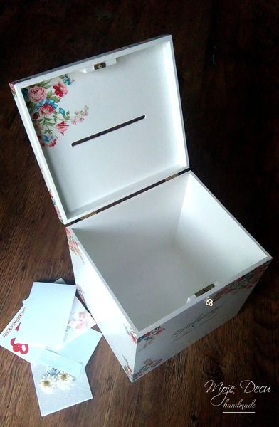 Drewniane pudełko na koperty ślubne - Moje-Decu - Dekoracje ślubne