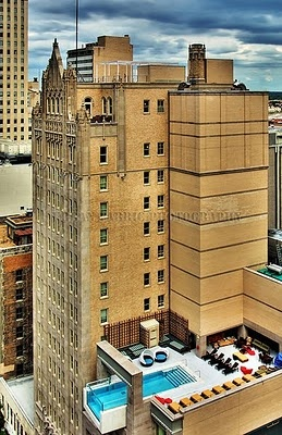 The Joule Hotel is a five-star hotel in Dallas famous for it's swimming pool that partially hangs off the side of the building – eight stories up.