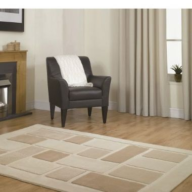 Visiona Cream Squares Rug - Starting From £29 | brandinteriors.co.uk