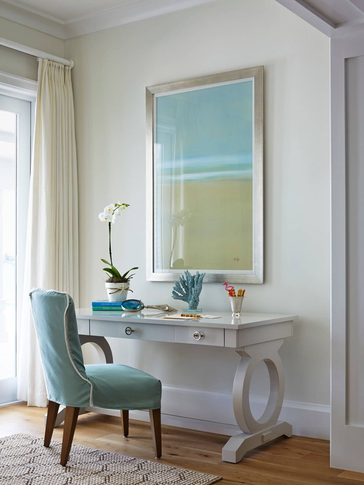 coastal style bedroom desk area