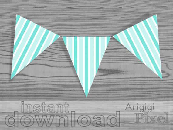 Pennant, aqua striped party banner, vertical stripes, printable, DIY party decoration, print and cut , spring summer color, instant download