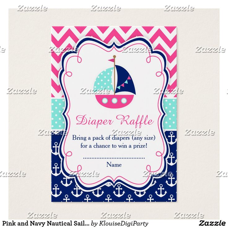 Pink and Navy Nautical Sailboat Baby Diaper Raffle Business Card
