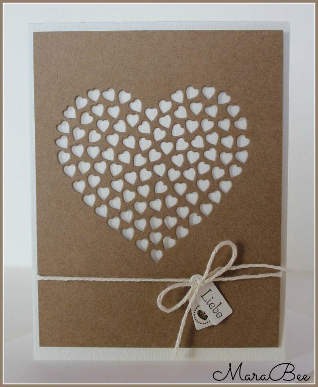 Cremefarbene Hochzeitskarte mit craftfarbenem Herz. Ganz schlicht und edel. Eine ganz besondere Karte....   Zur Karte gehört ein cremefarbener Umschlag.