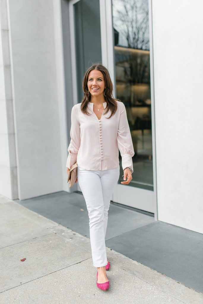 8e49314b7f221 Spring outfit | light pink top | white denim | Houston Fashion Blogger Lady  in Violet