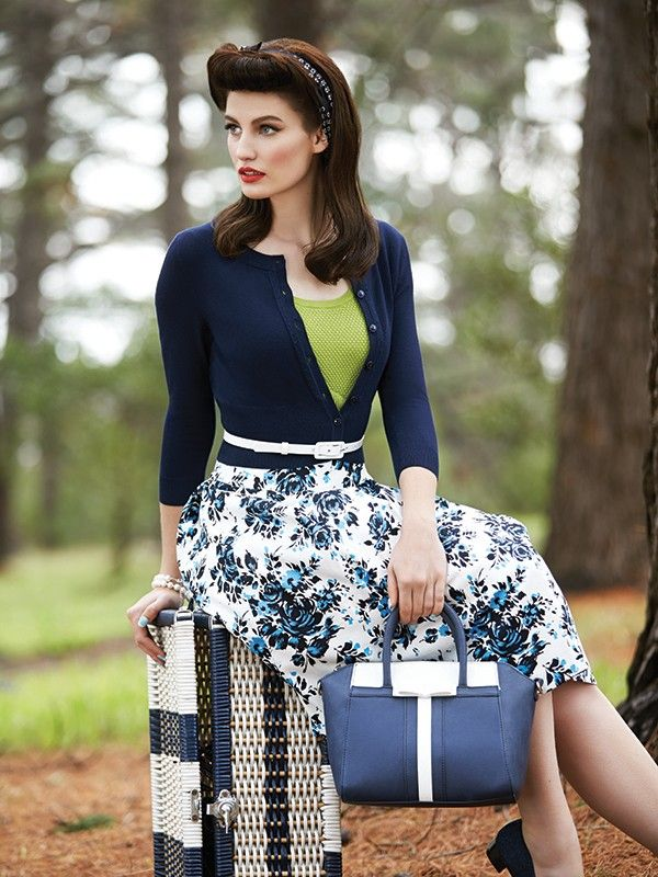 Amalfi Rose Skirt with the Houston Top in Lime and the Chessie Cardi in Navy