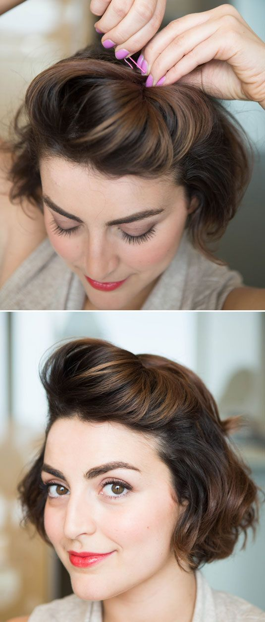 """Create a pompadour by teasing a section of hair from temple to temple, and then pushing it against where you normally part your hair to increase lift. Creating a pompadour on short hair can be tough, but by twisting the hair you've gathered and pushing it against your part, it will make building this style that much easier. Secure with two bobby pins in an """"X"""" formation and go."""