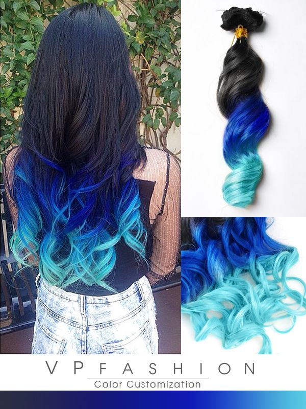 Mermaid Ombre Bunte Remy Clip in Extensions C017