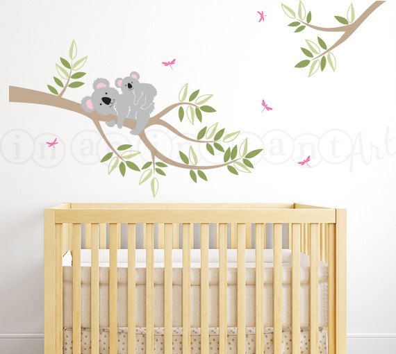 Koala Bear Decal Branch with Mother and Baby by InAnInstantArt
