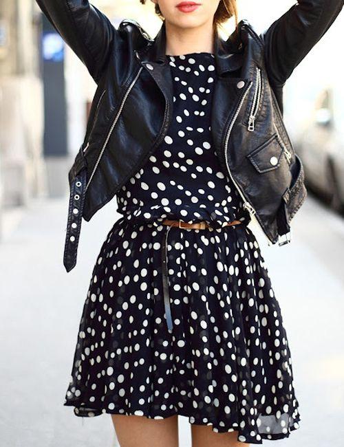 Polka dot: Fashion, Polka Dots Dresses, Biker Jackets, Style, Outfit, Leather Jackets, Polka Dot Dresses, Polkadots, The Dresses
