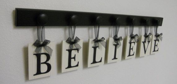 Christian Inspirational Art, Home Decor Wood Sign, Decorative Wall Letters Includes BELIEVE - 7 Wooden Hooks in Black