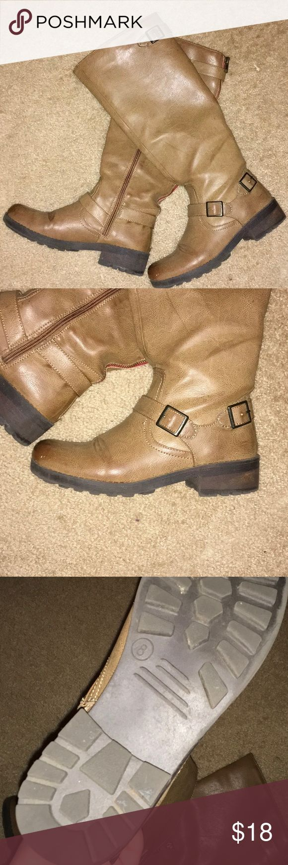 Target boots In used condition. Has a detail zipper with red on the back. Functioning zipper on the side Shoes Heeled Boots