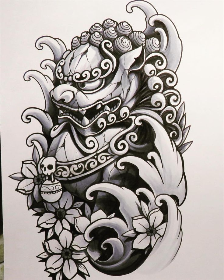 Foo dog #jq #johnq #foodog #shishi #japanesetattooart #sketch #copicciao #copicart #cherryblossoms