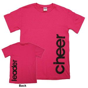 "Side Cheerleader T-Shirt - Hot Pink by Cheerleading Company (navy blue ""juniata"" on the front, ""cheer"" on the back in white)"